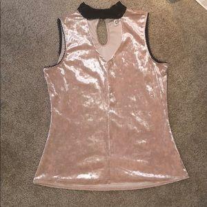 NWOT Nanette Lepore Pink Velvet High Neck Top S